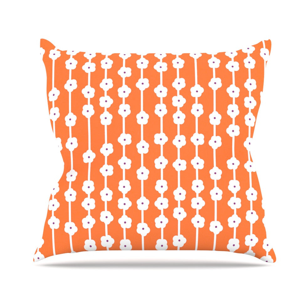 "Heidi Jennings ""Orange You Cute"" Tangerine White Outdoor Throw Pillow - KESS InHouse  - 1"