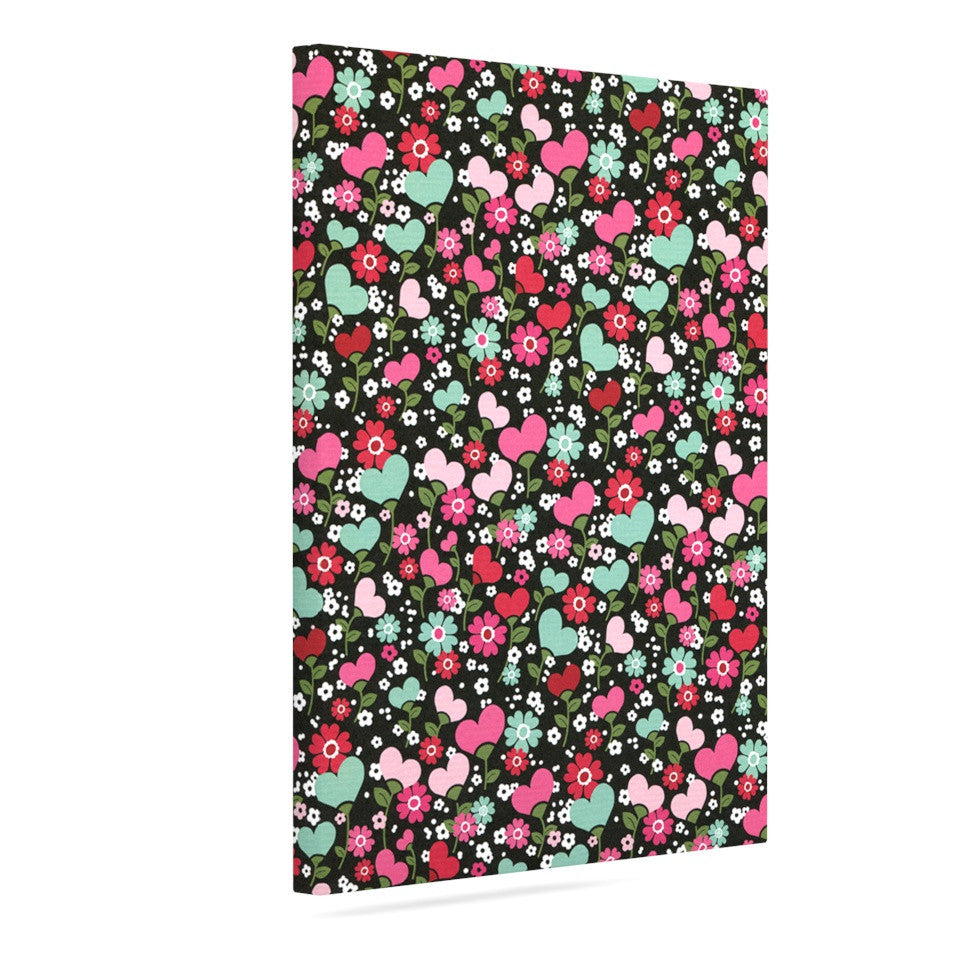 "Heidi Jennings ""Love is Growing"" Pink Green Canvas Art - KESS InHouse  - 1"