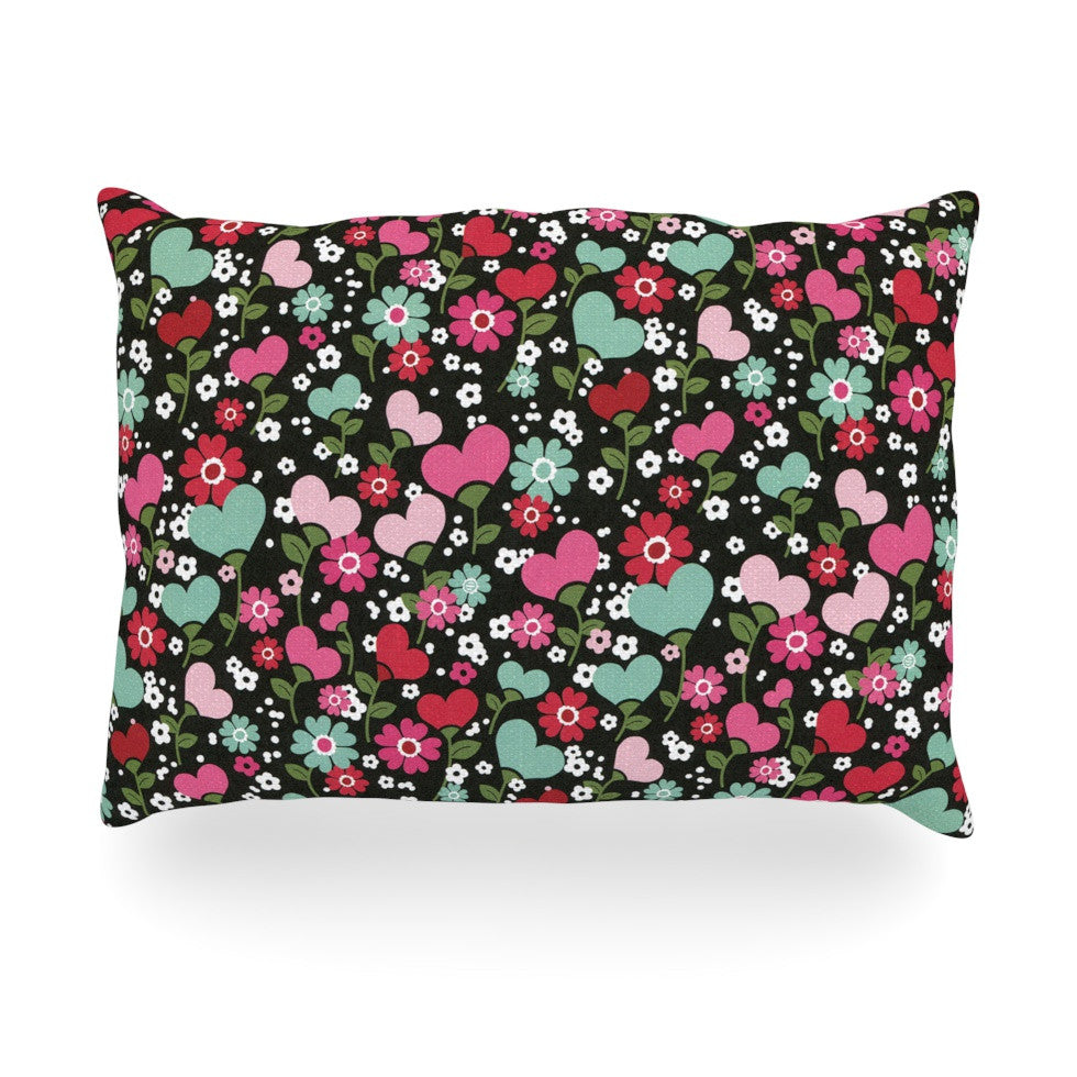 "Heidi Jennings ""Love is Growing"" Pink Green Oblong Pillow - KESS InHouse"