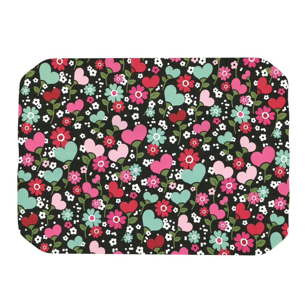 "Heidi Jennings ""Love is Growing"" Pink Green Place Mat - KESS InHouse"