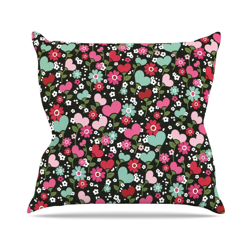 "Heidi Jennings ""Love is Growing"" Pink Green Outdoor Throw Pillow - KESS InHouse  - 1"