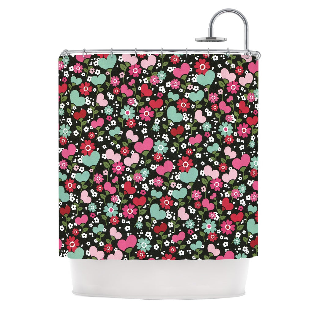 "Heidi Jennings ""Love is Growing"" Pink Green Shower Curtain - KESS InHouse"