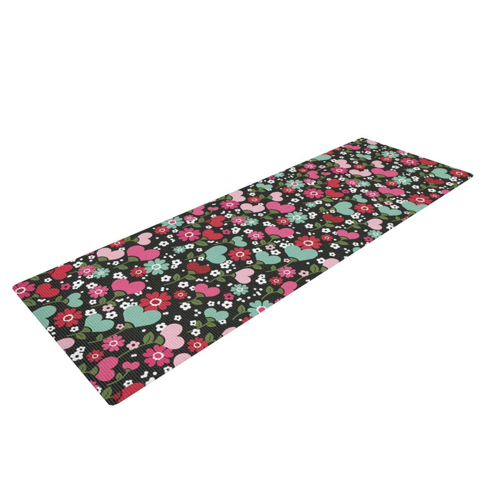 "Heidi Jennings ""Love is Growing"" Pink Green Yoga Mat - KESS InHouse  - 1"