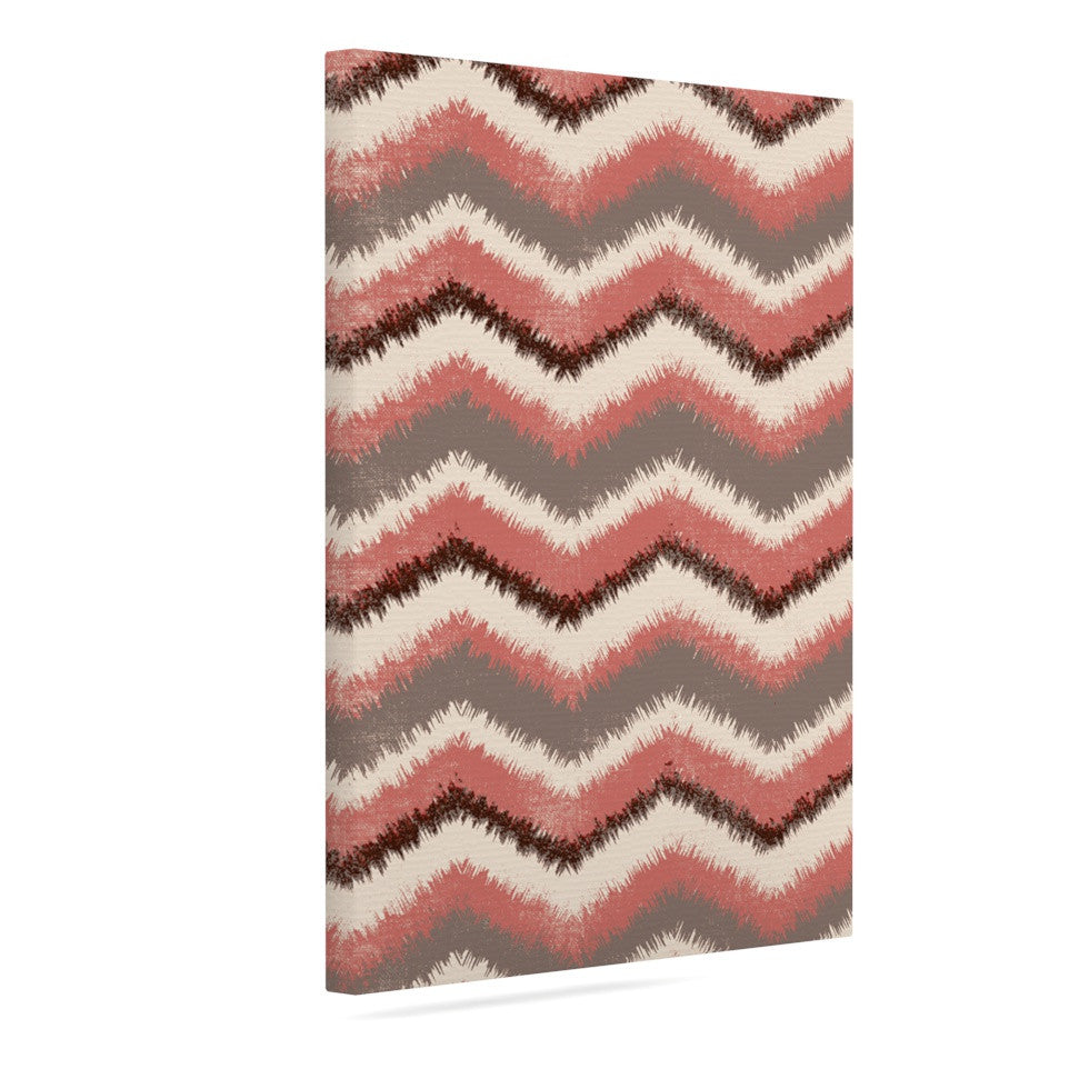 "Heidi Jennings ""Fuzzy Chevron"" Red Brown Canvas Art - KESS InHouse  - 1"