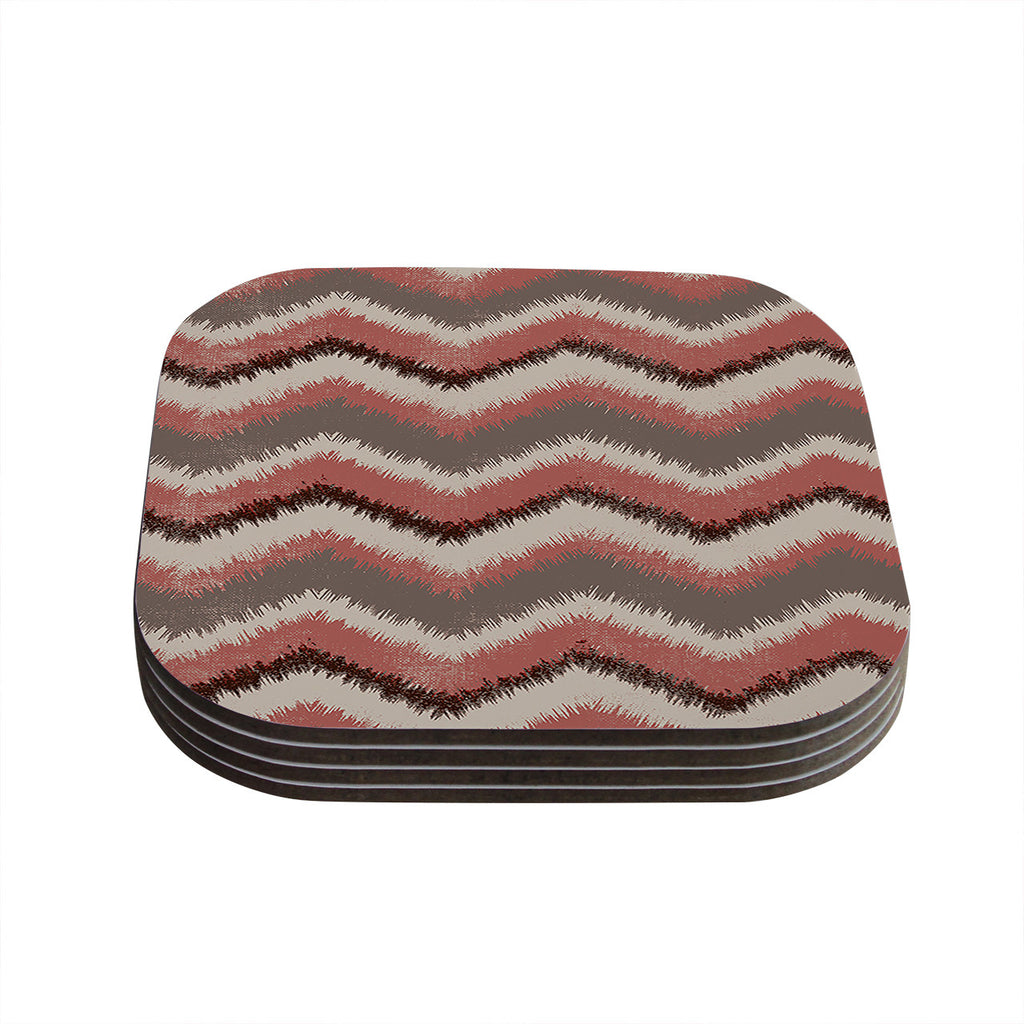 "Heidi Jennings ""Fuzzy Chevron"" Red Brown Coasters (Set of 4)"
