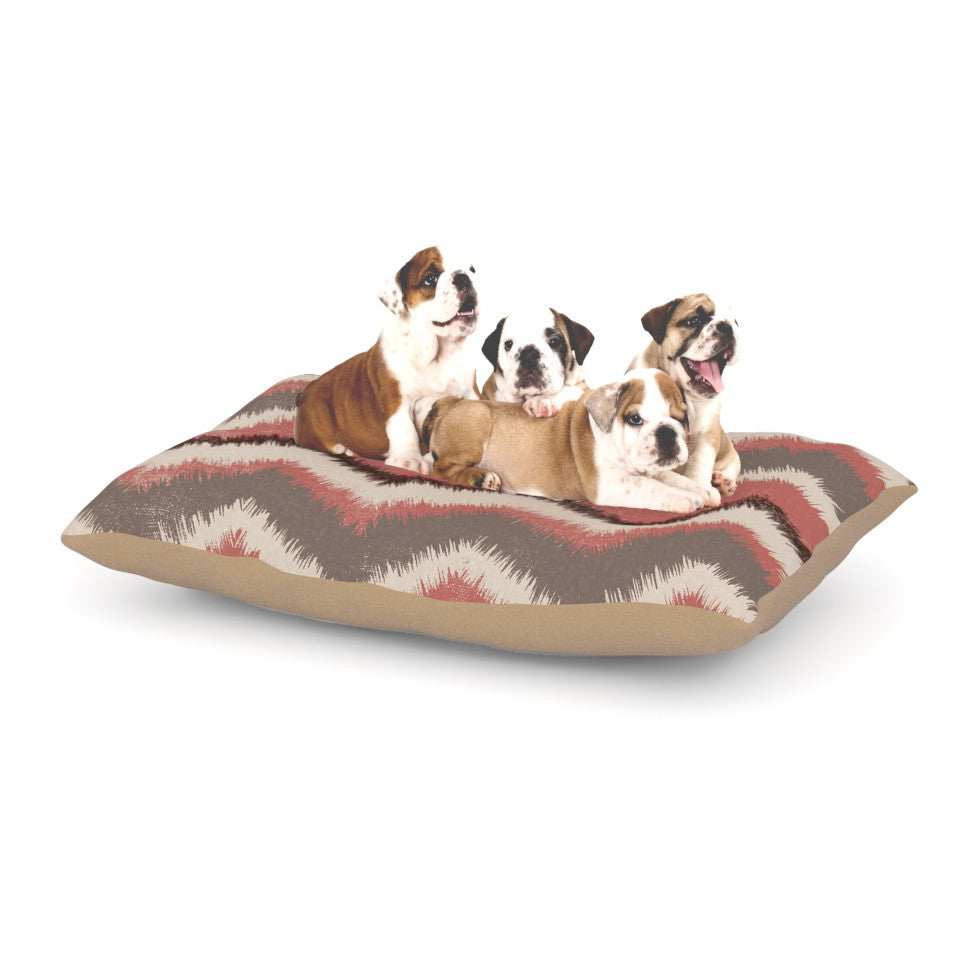 "Heidi Jennings ""Fuzzy Chevron"" Red Brown Dog Bed - KESS InHouse  - 1"