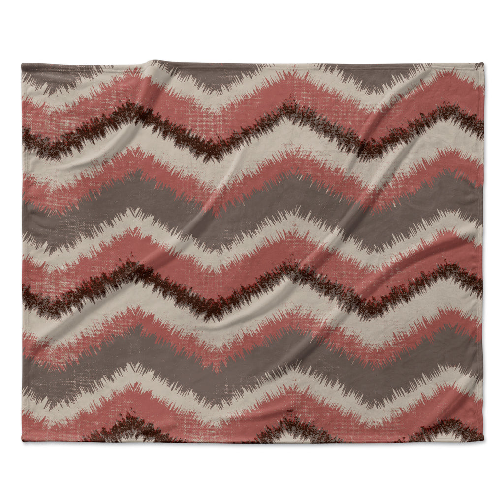 "Heidi Jennings ""Fuzzy Chevron"" Red Brown Fleece Throw Blanket"