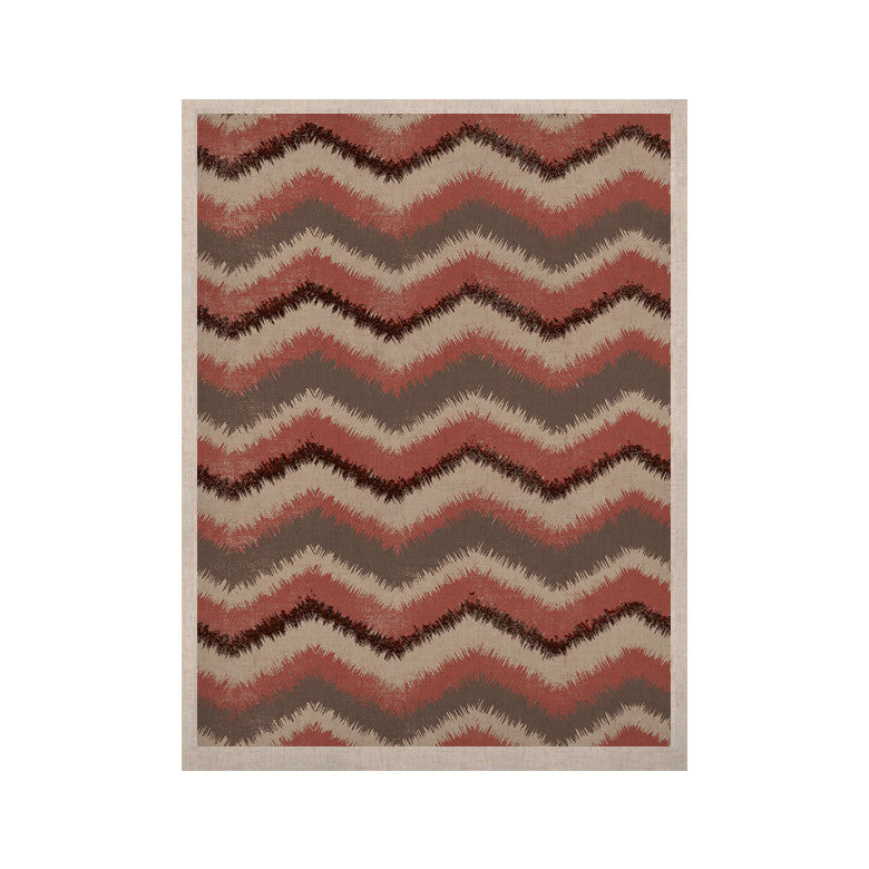 "Heidi Jennings ""Fuzzy Chevron"" Red Brown KESS Naturals Canvas (Frame not Included) - KESS InHouse  - 1"