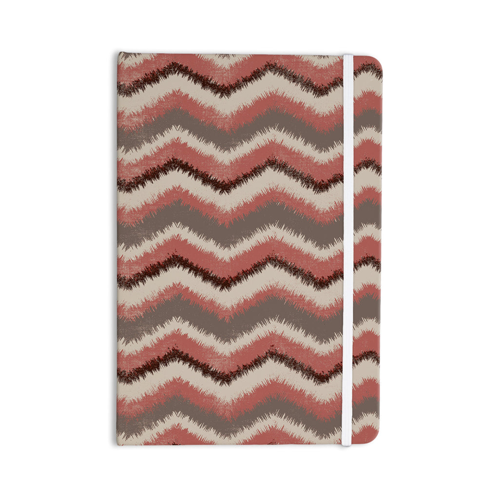 "Heidi Jennings ""Fuzzy Chevron"" Red Brown Everything Notebook - KESS InHouse  - 1"