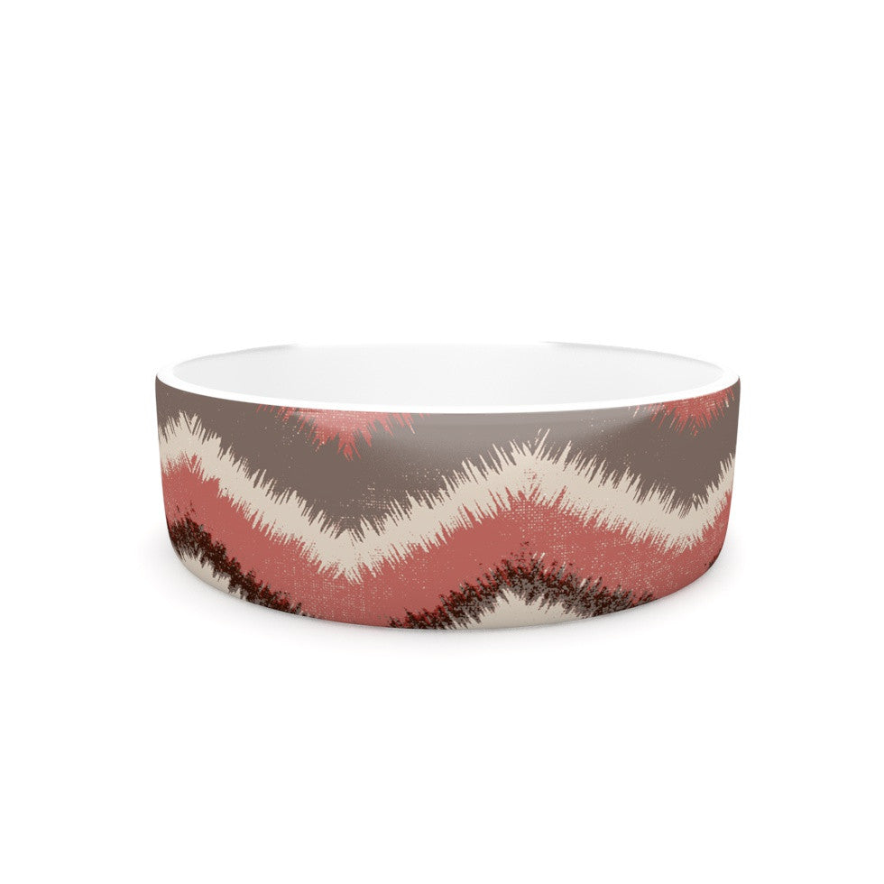 "Heidi Jennings ""Fuzzy Chevron"" Red Brown Pet Bowl - KESS InHouse"