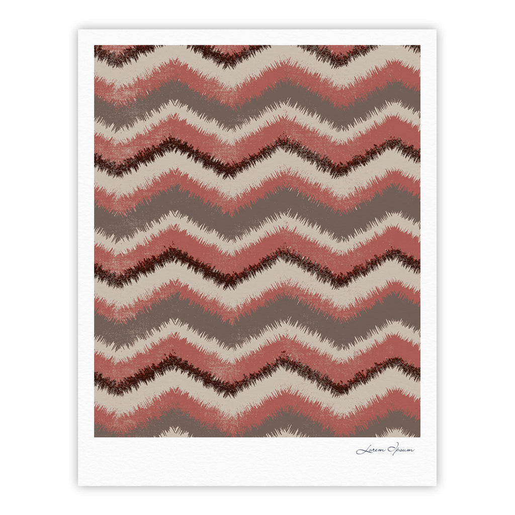 "Heidi Jennings ""Fuzzy Chevron"" Red Brown Fine Art Gallery Print - KESS InHouse"