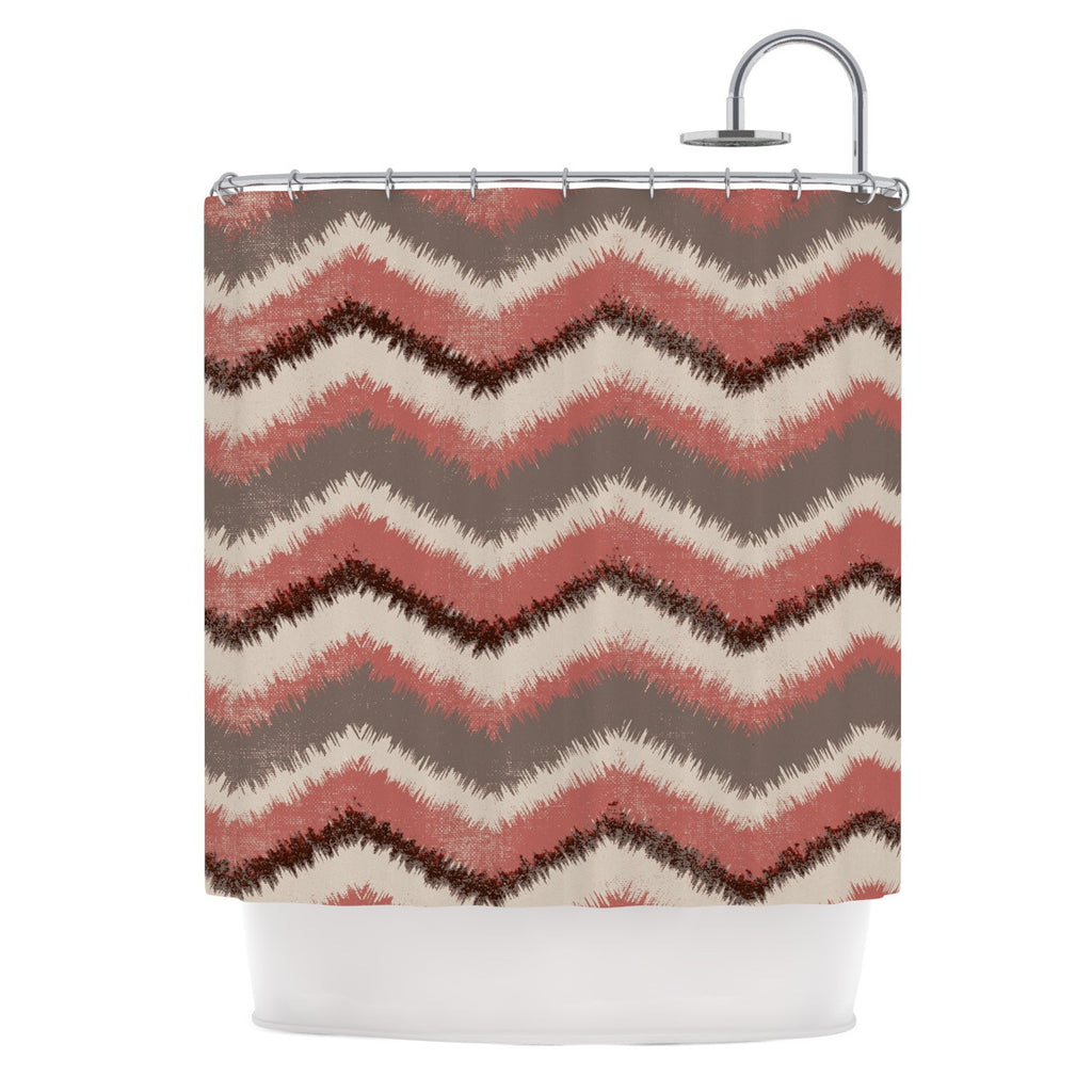 "Heidi Jennings ""Fuzzy Chevron"" Red Brown Shower Curtain - KESS InHouse"