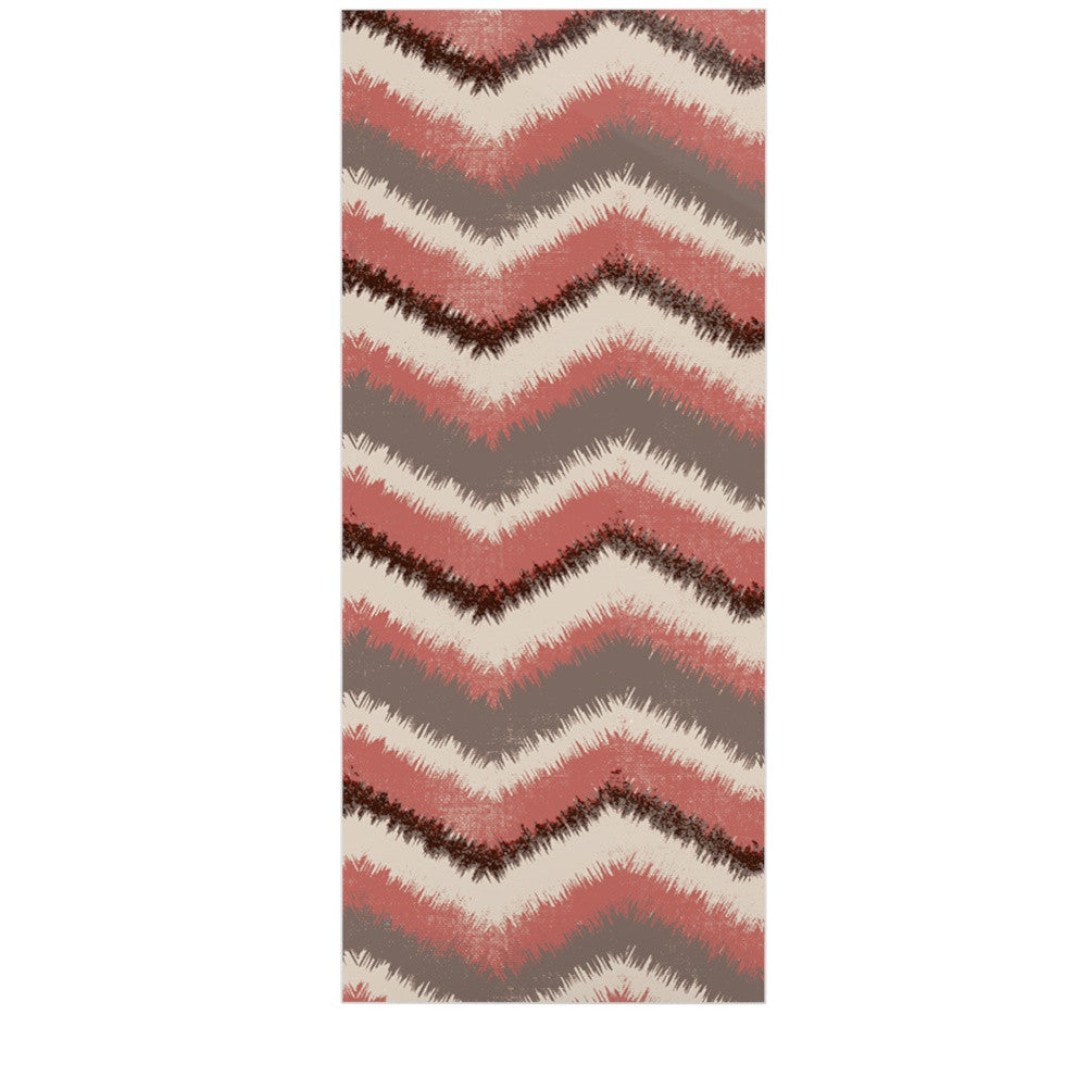 "Heidi Jennings ""Fuzzy Chevron"" Red Brown Luxe Rectangle Panel - KESS InHouse  - 1"