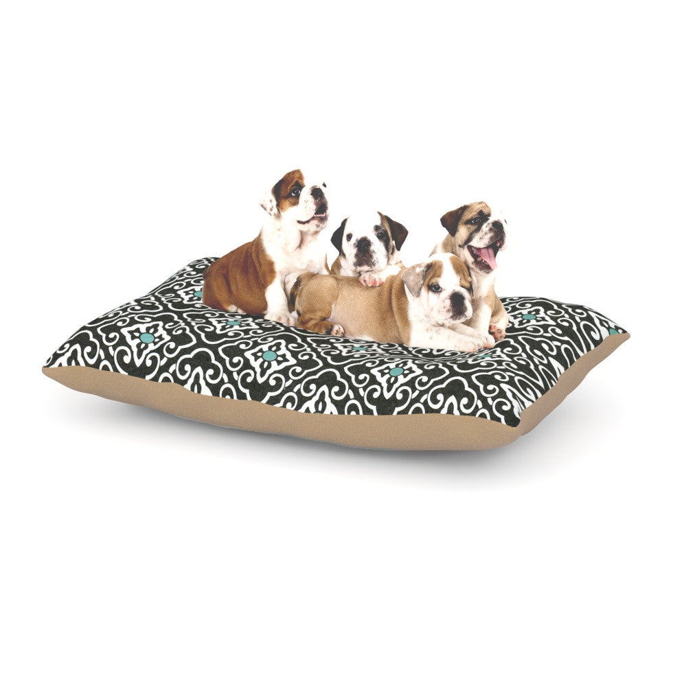 "Heidi Jennings ""Black Blue Geometric"" White Dog Bed - KESS InHouse  - 1"