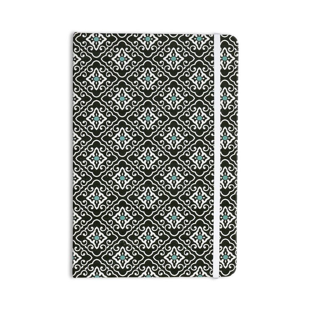 "Heidi Jennings ""Black Blue Geometric"" White Everything Notebook - KESS InHouse  - 1"