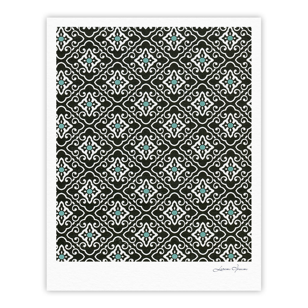 "Heidi Jennings ""Black Blue Geometric"" White Fine Art Gallery Print - KESS InHouse"