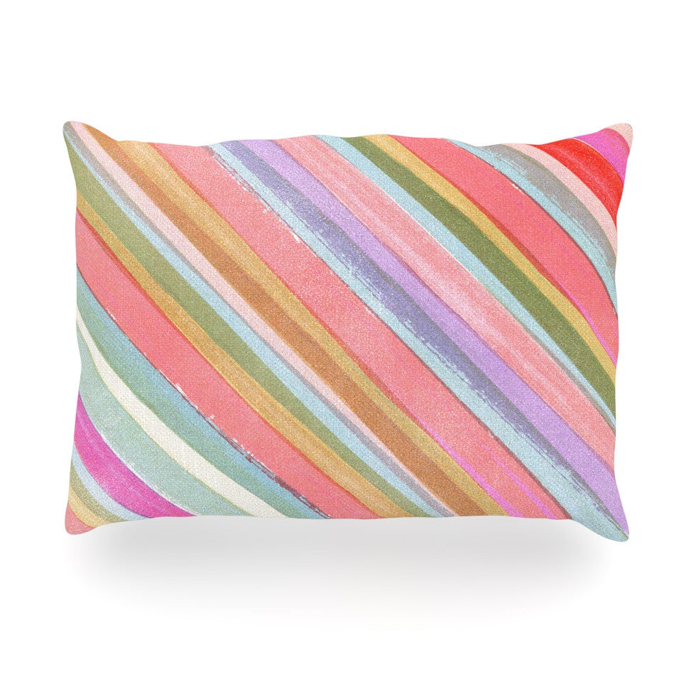 "Heidi Jennings ""Pastel Stripes"" Pink Multicolor Oblong Pillow - KESS InHouse"