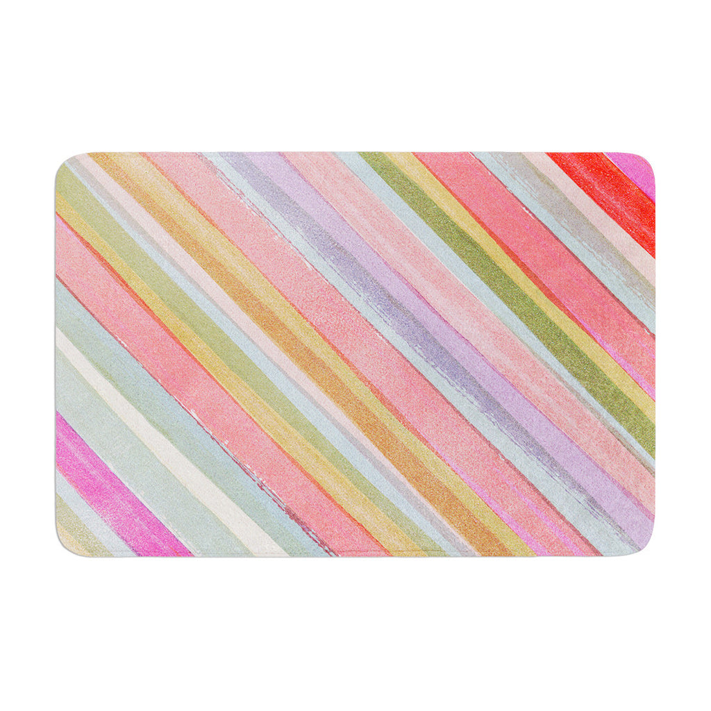 "Heidi Jennings ""Pastel Stripes"" Pink Multicolor Memory Foam Bath Mat - KESS InHouse"