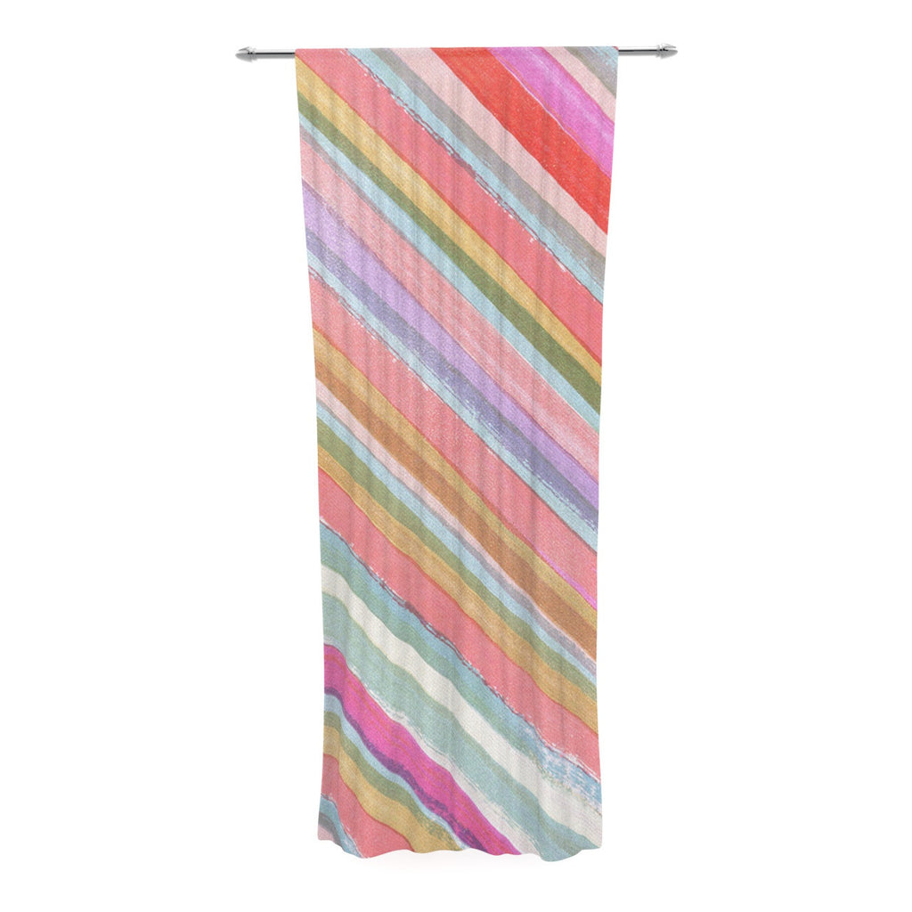 "Heidi Jennings ""Pastel Stripes"" Pink Multicolor Decorative Sheer Curtain - KESS InHouse  - 1"