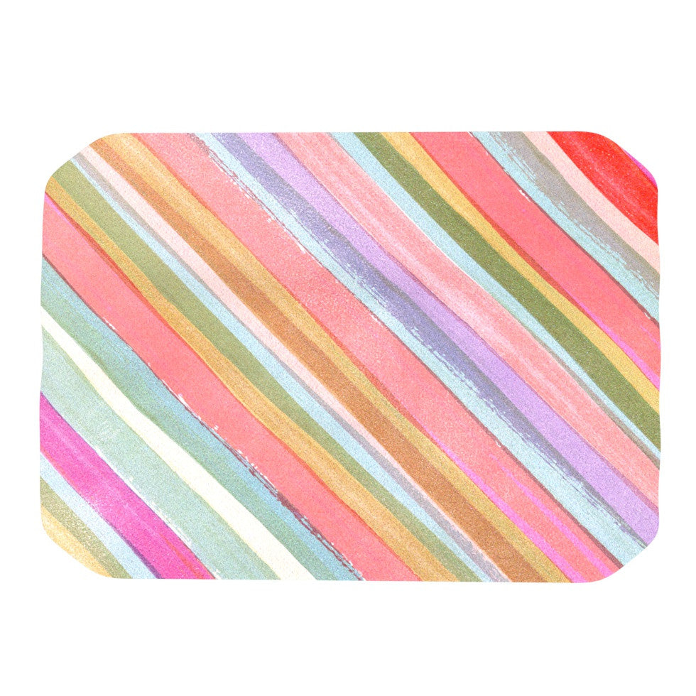"Heidi Jennings ""Pastel Stripes"" Pink Multicolor Place Mat - KESS InHouse"