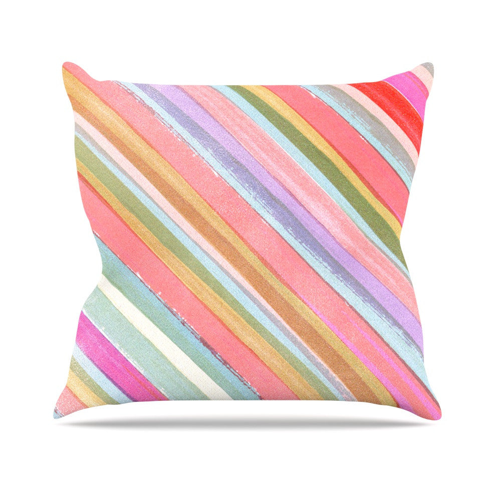 "Heidi Jennings ""Pastel Stripes"" Pink Multicolor Outdoor Throw Pillow - KESS InHouse  - 1"
