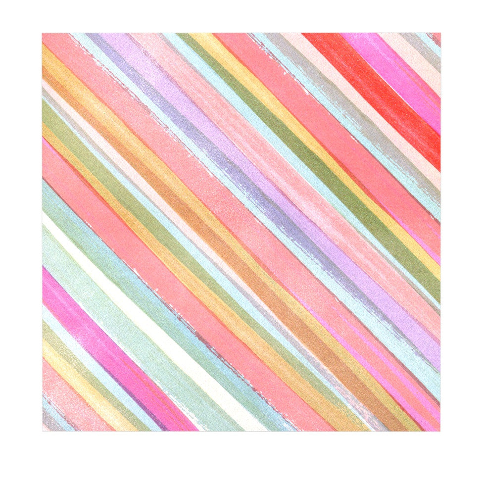"Heidi Jennings ""Pastel Stripes"" Pink Multicolor Luxe Square Panel - KESS InHouse  - 1"