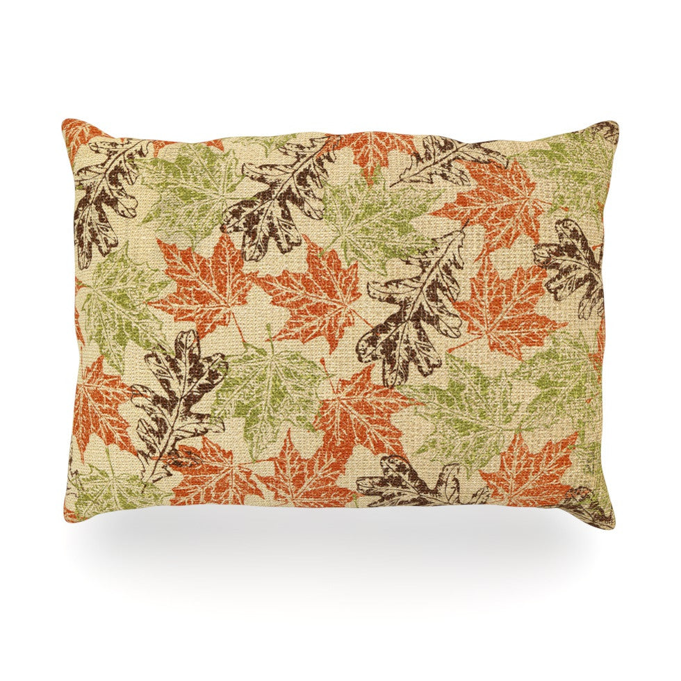 "Heidi Jennings ""Leaf it to Me"" Green Brown Oblong Pillow - KESS InHouse"