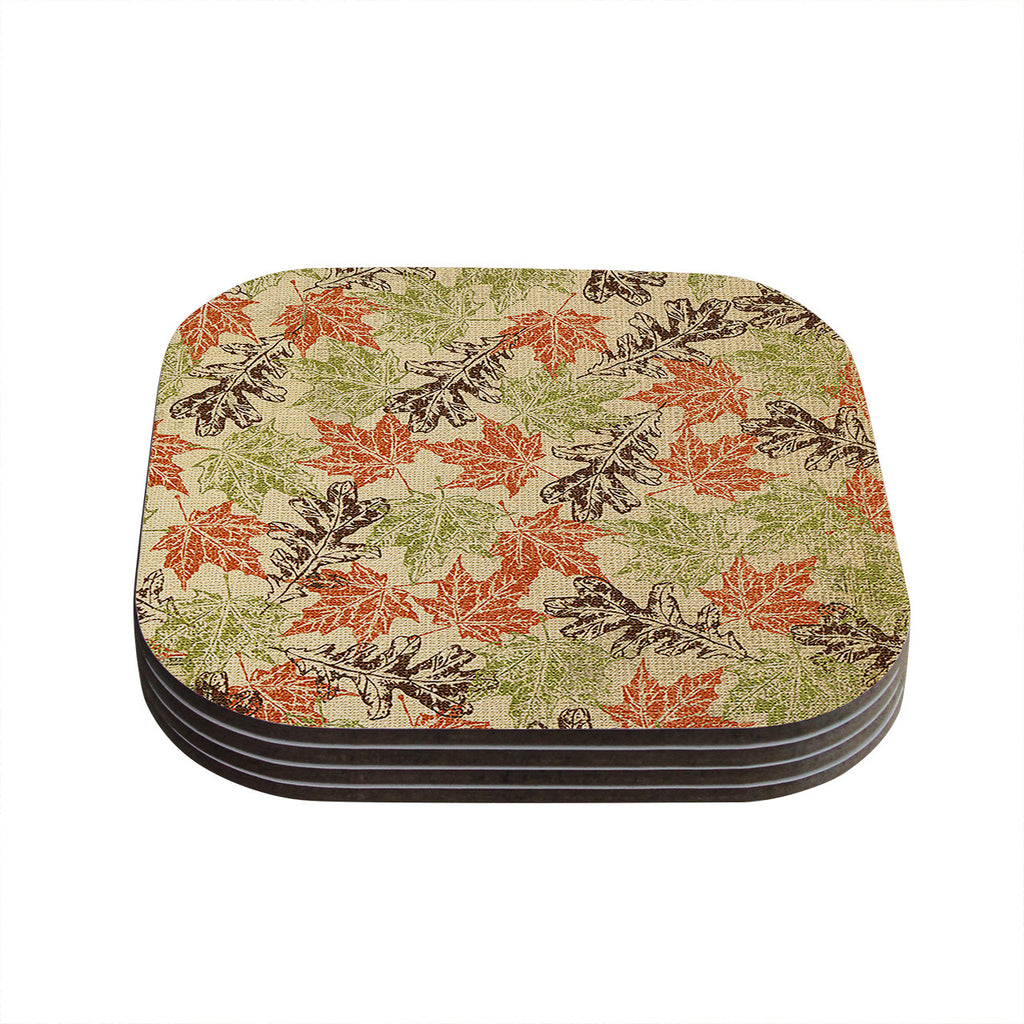 "Heidi Jennings ""Leaf it to Me"" Green Brown Coasters (Set of 4)"