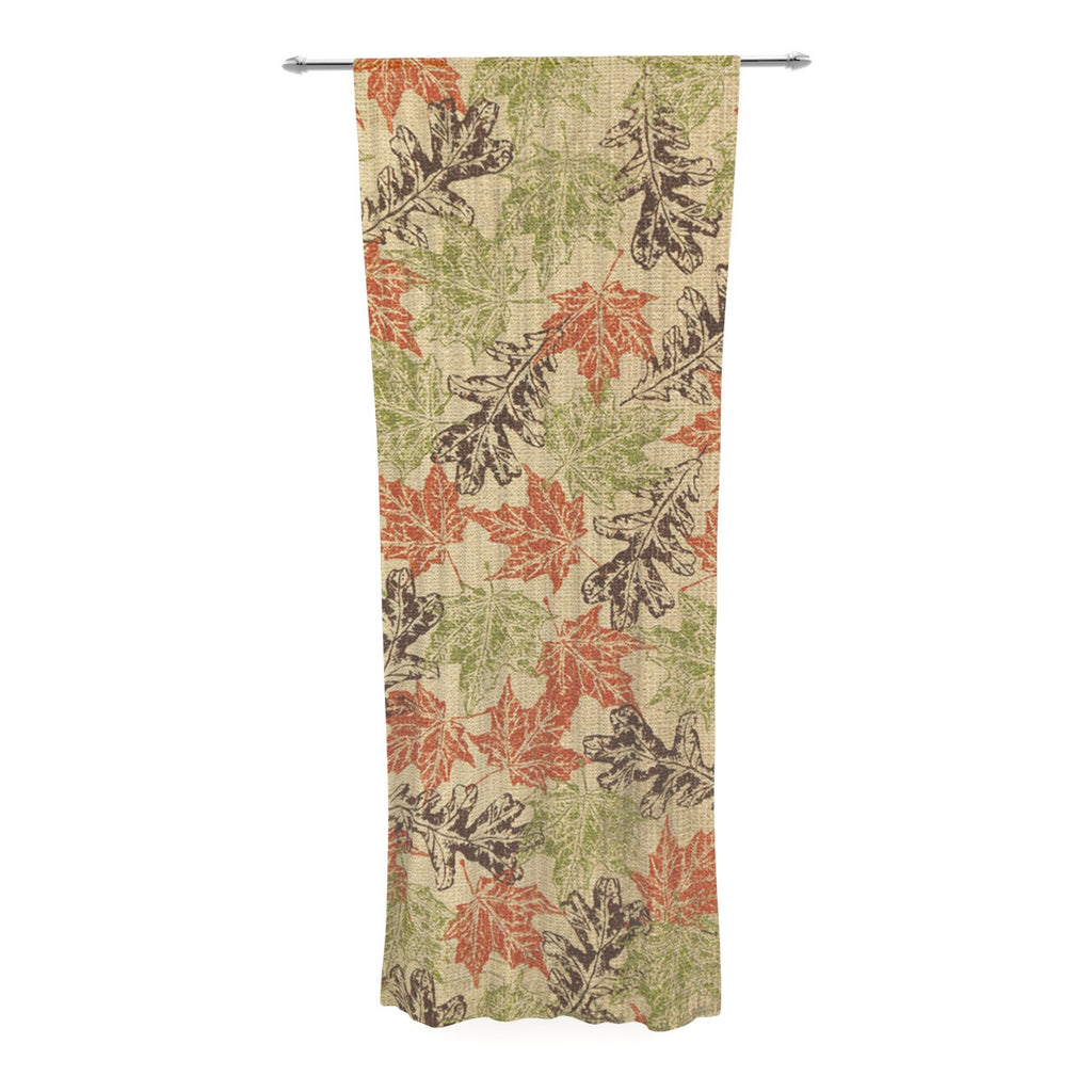 "Heidi Jennings ""Leaf it to Me"" Green Brown Decorative Sheer Curtain - KESS InHouse  - 1"