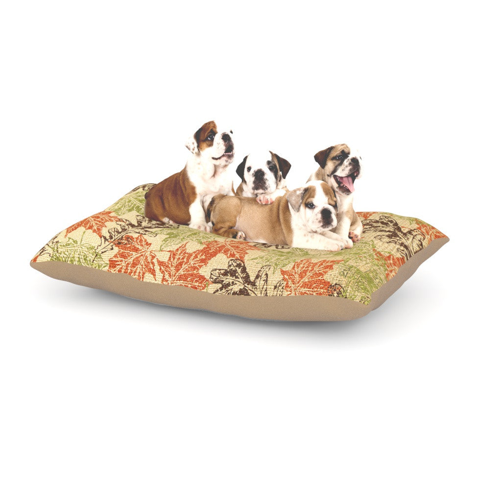 "Heidi Jennings ""Leaf it to Me"" Green Brown Dog Bed - KESS InHouse  - 1"