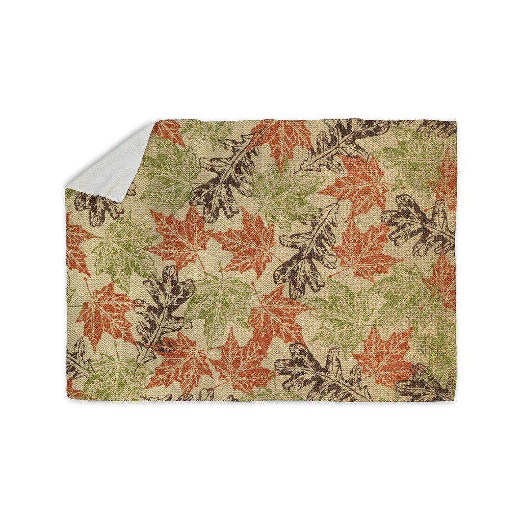 "Heidi Jennings ""Leaf it to Me"" Green Brown Sherpa Blanket - KESS InHouse  - 1"