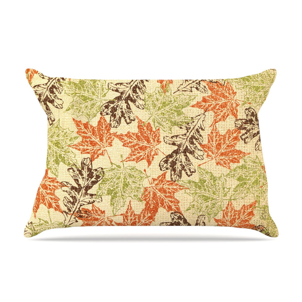 "Heidi Jennings ""Leaf it to Me"" Green Brown Pillow Sham - KESS InHouse"