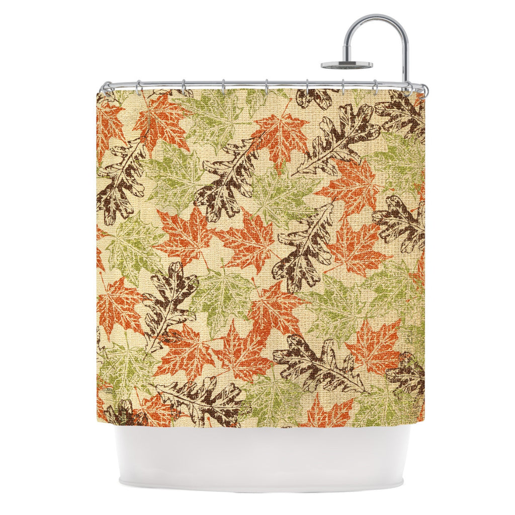 "Heidi Jennings ""Leaf it to Me"" Green Brown Shower Curtain - KESS InHouse"