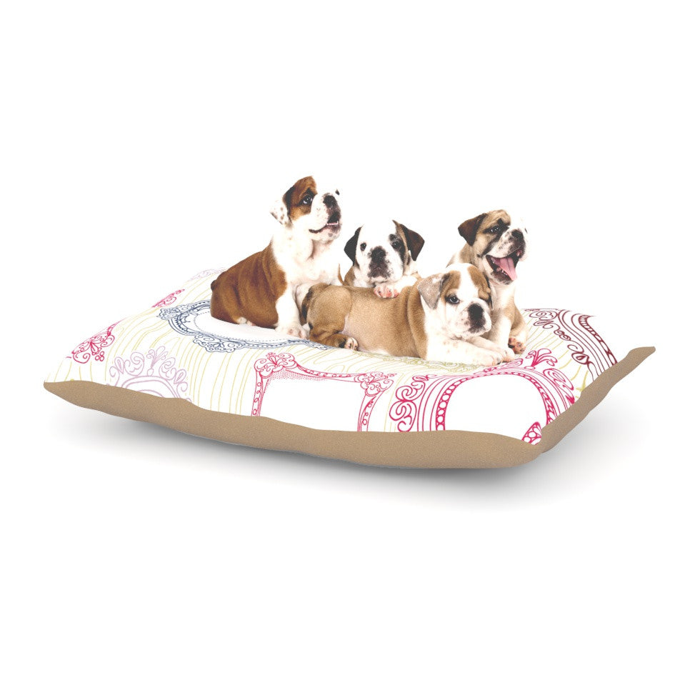 "Heidi Jennings ""I've Been Framed"" White Multicolor Dog Bed - KESS InHouse  - 1"