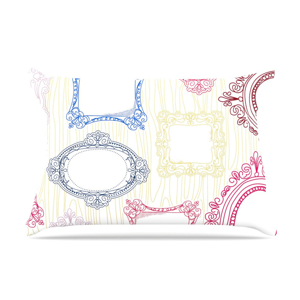 "Heidi Jennings ""I've Been Framed"" White Multicolor Pillow Sham - KESS InHouse"