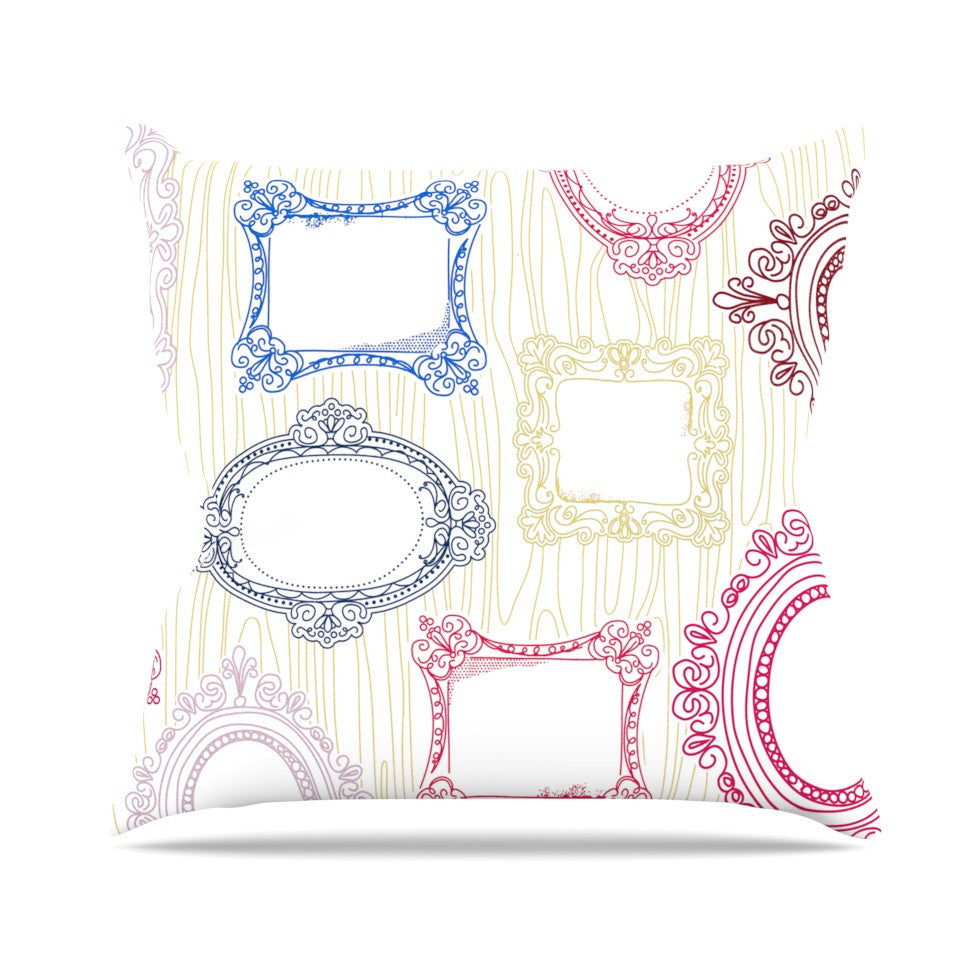"Heidi Jennings ""I've Been Framed"" White Multicolor Throw Pillow - KESS InHouse  - 1"