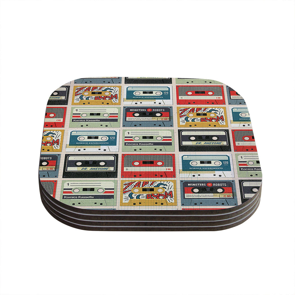 "Heidi Jennings ""Retro Tape"" Multicolor Coasters (Set of 4)"