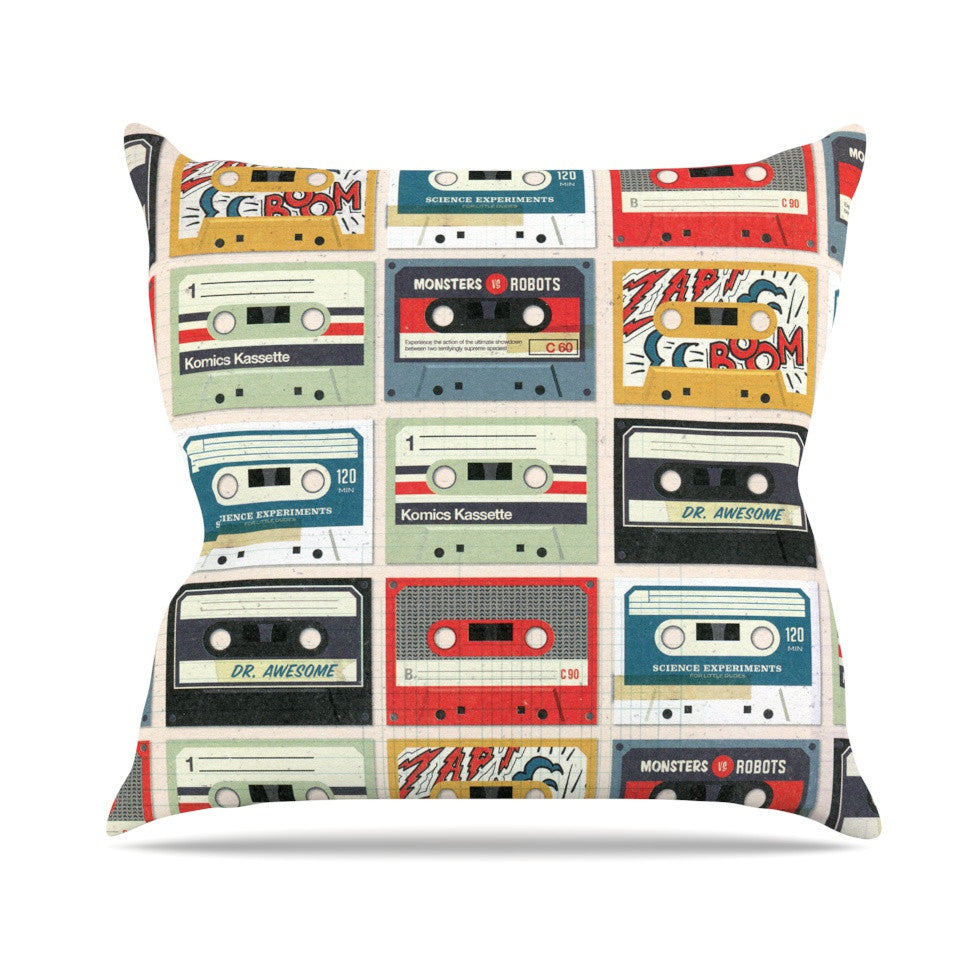 "Heidi Jennings ""Retro Tape"" Multicolor Outdoor Throw Pillow - KESS InHouse  - 1"
