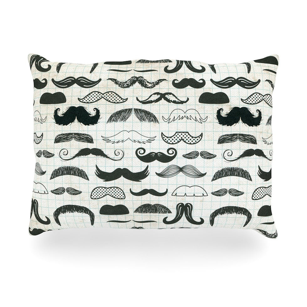 "Heidi Jennings ""Stached"" Gray Black Oblong Pillow - KESS InHouse"