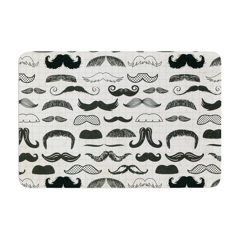 "Heidi Jennings ""Stached"" Gray Black Memory Foam Bath Mat - KESS InHouse"