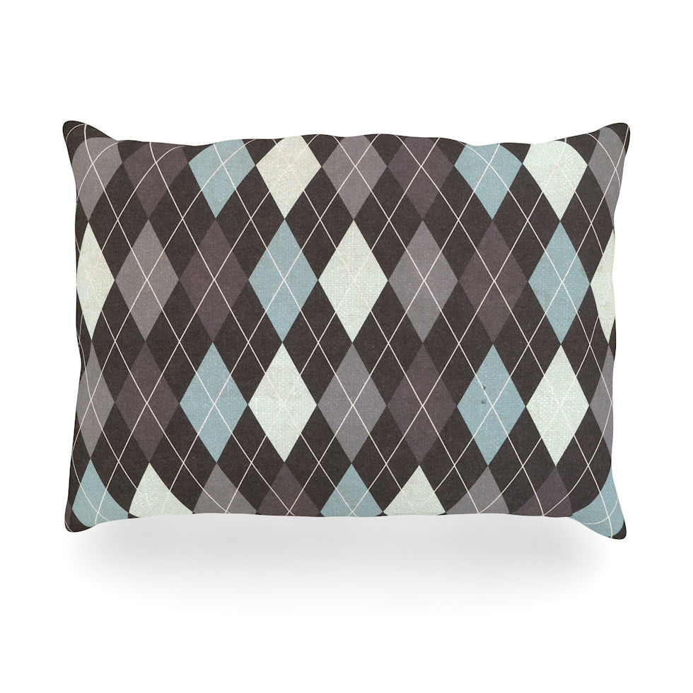 "Heidi Jennings ""Argyle"" Blue Gray Oblong Pillow - KESS InHouse"