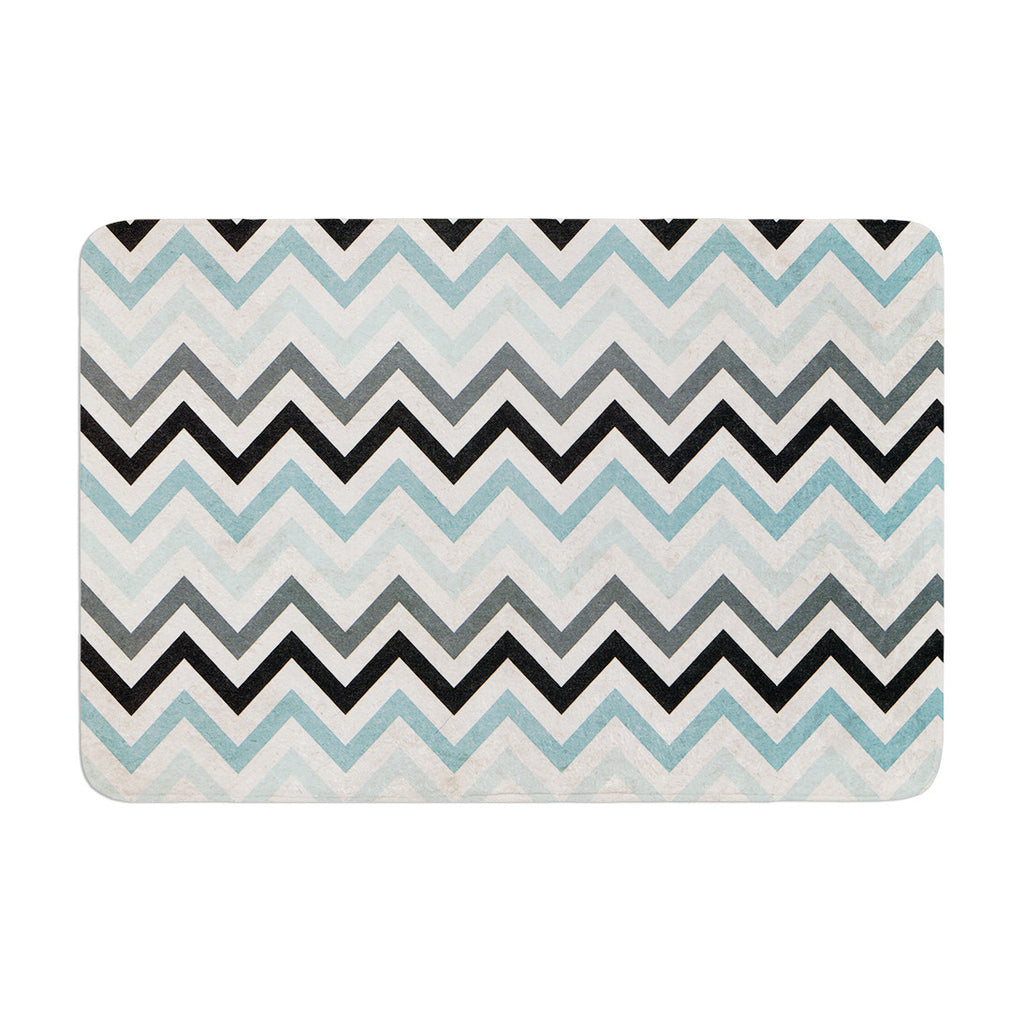 "Heidi Jennings ""Blue Chevron"" Gray Aqua Memory Foam Bath Mat - KESS InHouse"
