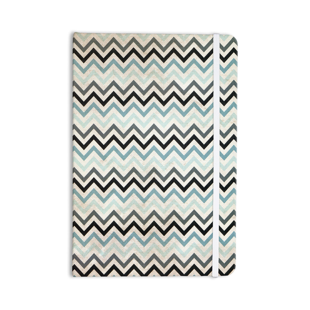"Heidi Jennings ""Blue Chevron"" Gray Aqua Everything Notebook - KESS InHouse  - 1"