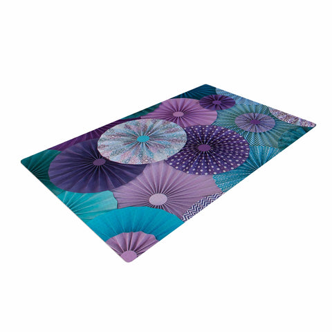 "Heidi Jennings ""Amethyst Glacier"" Teal Purple Woven Area Rug - Outlet Item"