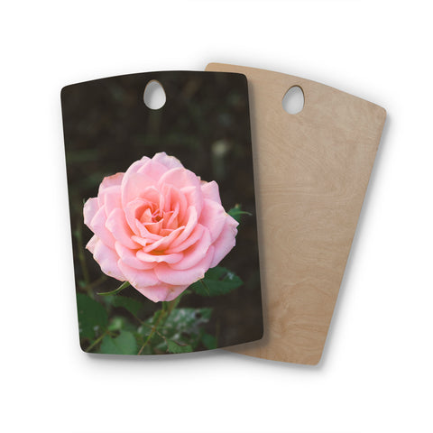 "Heidi Jennings ""Pink Rose"" Pink Floral Nature Mixed Media Photography Rectangle Wooden Cutting Board"
