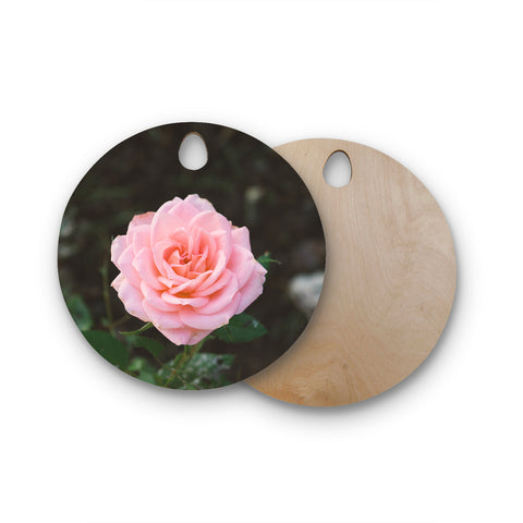 "Heidi Jennings ""Pink Rose"" Pink Floral Nature Mixed Media Photography Round Wooden Cutting Board"