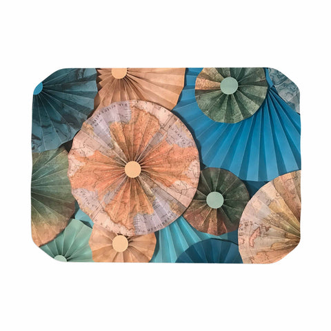 "Heidi Jennings ""Map Your Travels"" Teal Tan Travel Pattern Mixed Media Photography Place Mat"