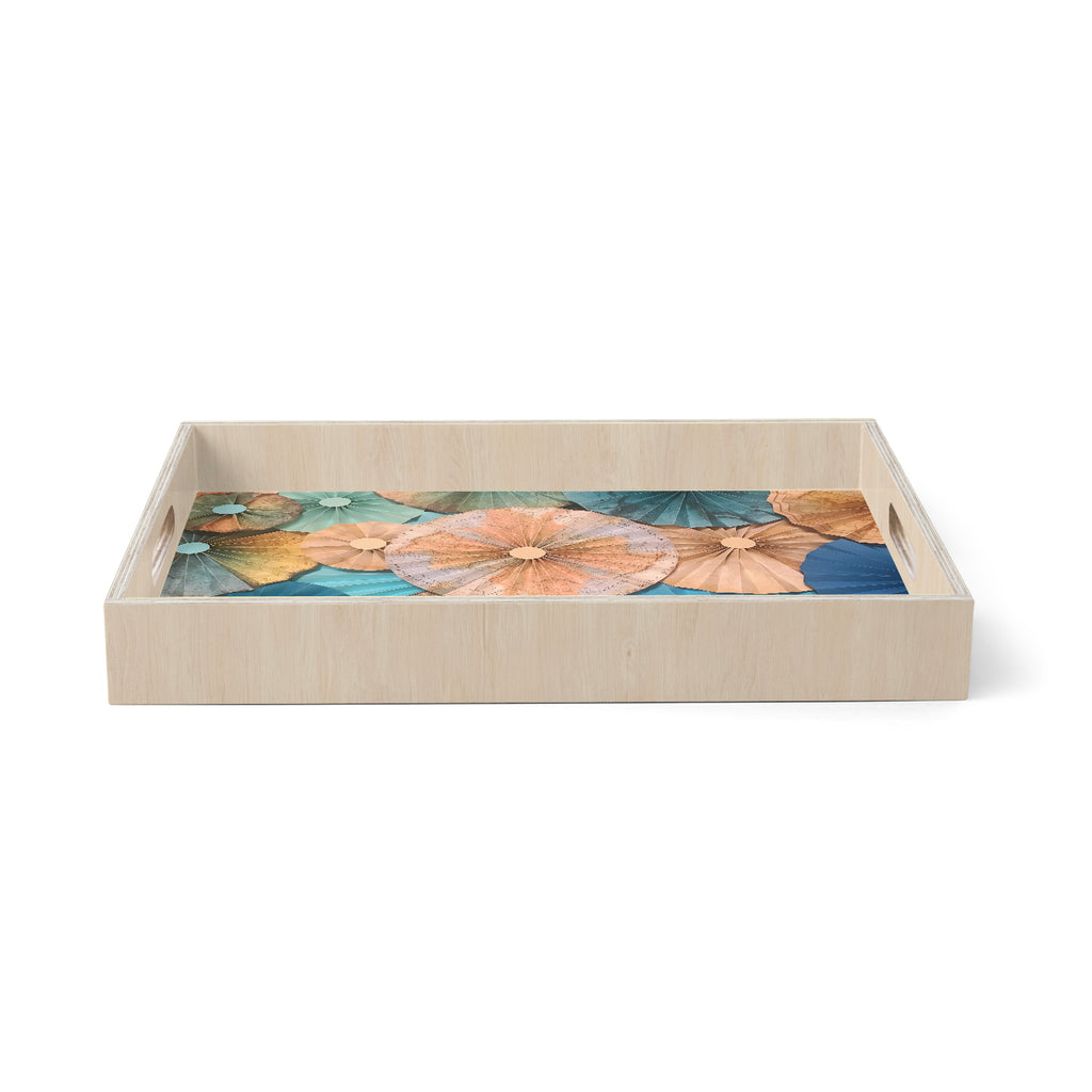 "Heidi Jennings ""Map Your Travels"" Teal Tan Travel Pattern Mixed Media Photography Birchwood Tray"