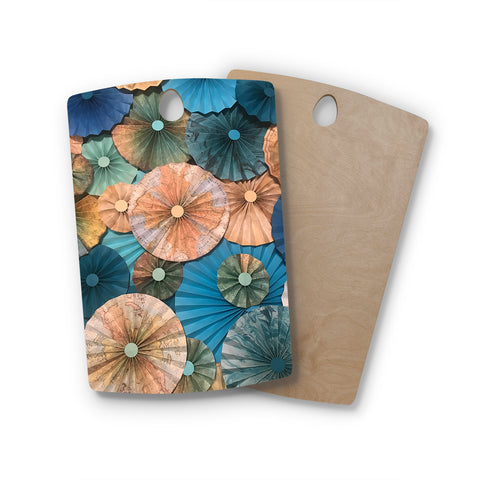 "Heidi Jennings ""Map Your Travels"" Teal Tan Travel Pattern Mixed Media Photography Rectangle Wooden Cutting Board"
