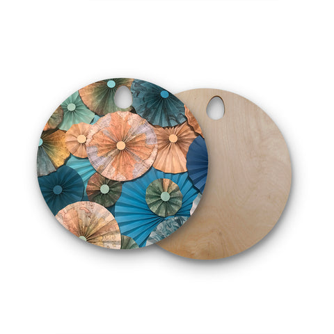 "Heidi Jennings ""Map Your Travels"" Teal Tan Travel Pattern Mixed Media Photography Round Wooden Cutting Board"